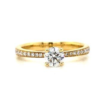 Ladies 18k Yellow Gold Hearts On Fire Diamond Ring