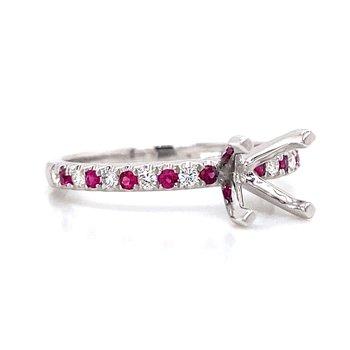 18k White Gold Diamond & Ruby Ring