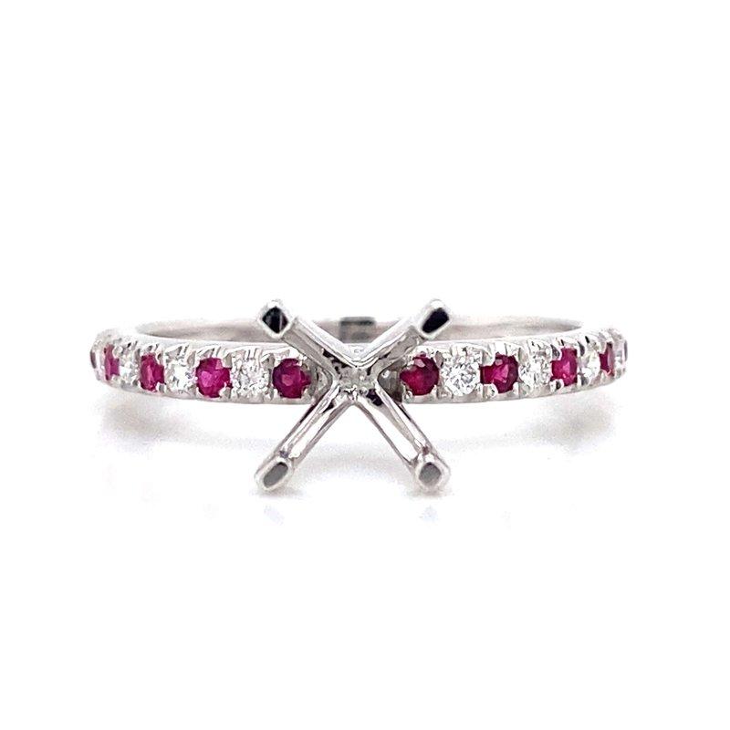 Robert Palma Designs 18k White Gold Diamond & Ruby Ring