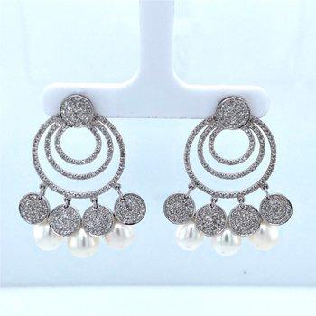 14k White Gold Pearl & Diamond Dangle Earrings