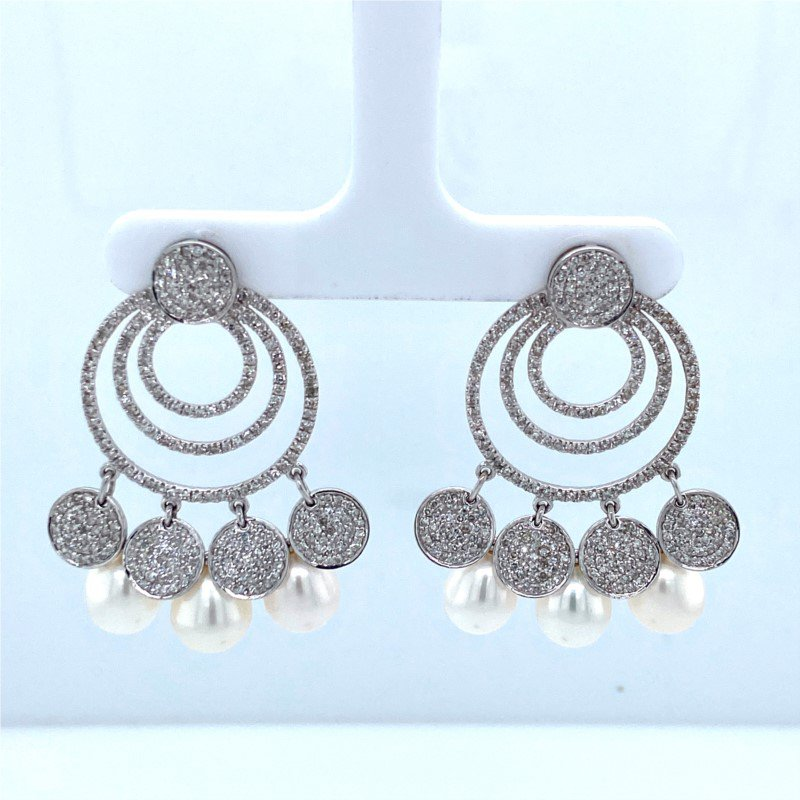 Robert Palma Designs 14k White Gold Pearl & Diamond Dangle Earrings