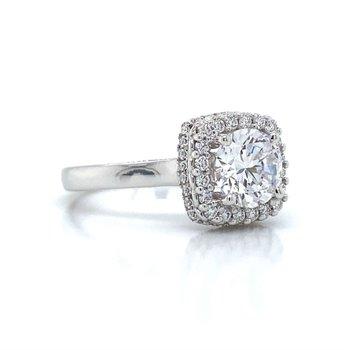 14k White Gold Verragio Halo Ring