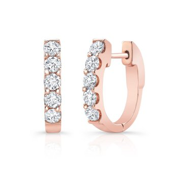 14K Rose Gold Prong set Diamond Oval Hoop Earrings