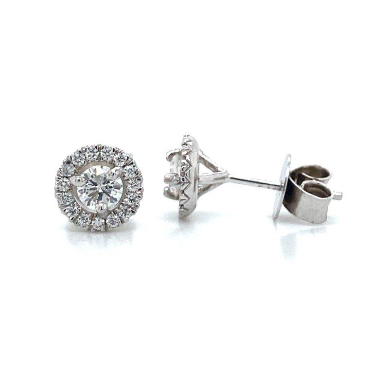 Robert Palma Designs Round Diamond Halo Earrings