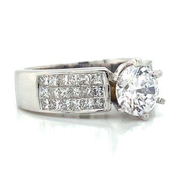 14k White Gold Invisible Set Ring