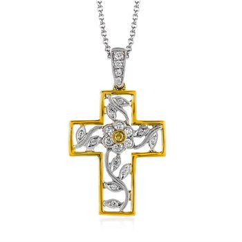 18K White and Yellow Gold Cross Pendant with Chain