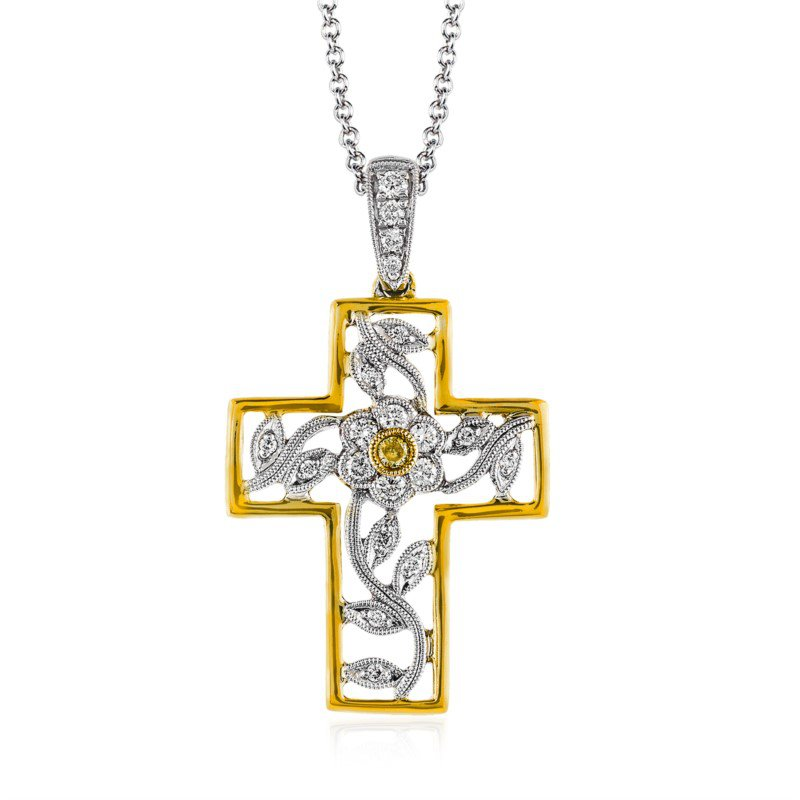 Simon G 18K White and Yellow Gold Cross Pendant with Chain
