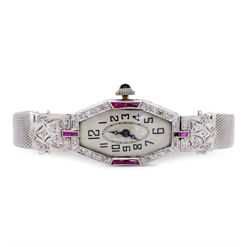 Ladies Art Deco Platinum Diamond & Ruby Watch