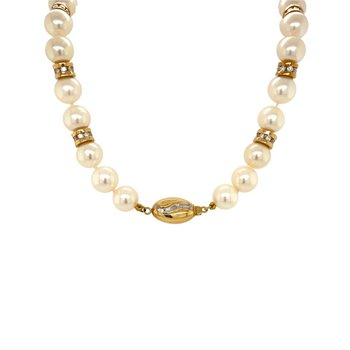 14k Yellow Gold Diamond Roundels & Pearl Necklace