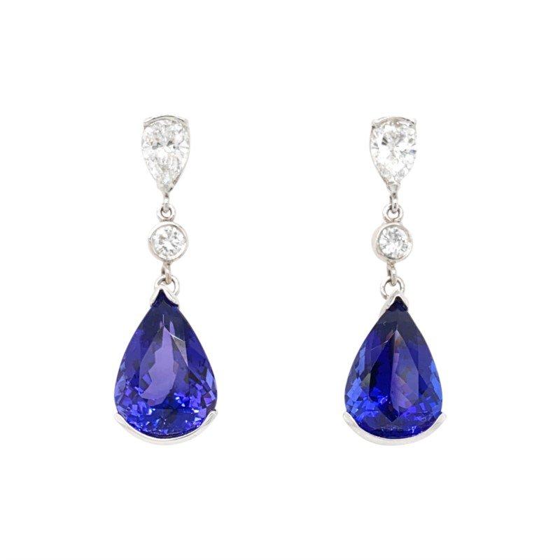 Robert Palma Designs Platinum Tanzanite and Diamond Earrings