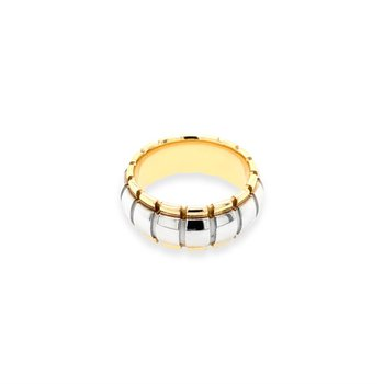 14k White & Yellow Gold Barrel Band