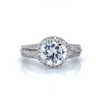 18k White Gold Open Shank Halo Ring