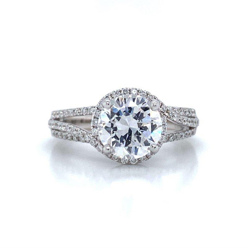 Robert Palma Designs 18k White Gold Open Shank Halo Ring