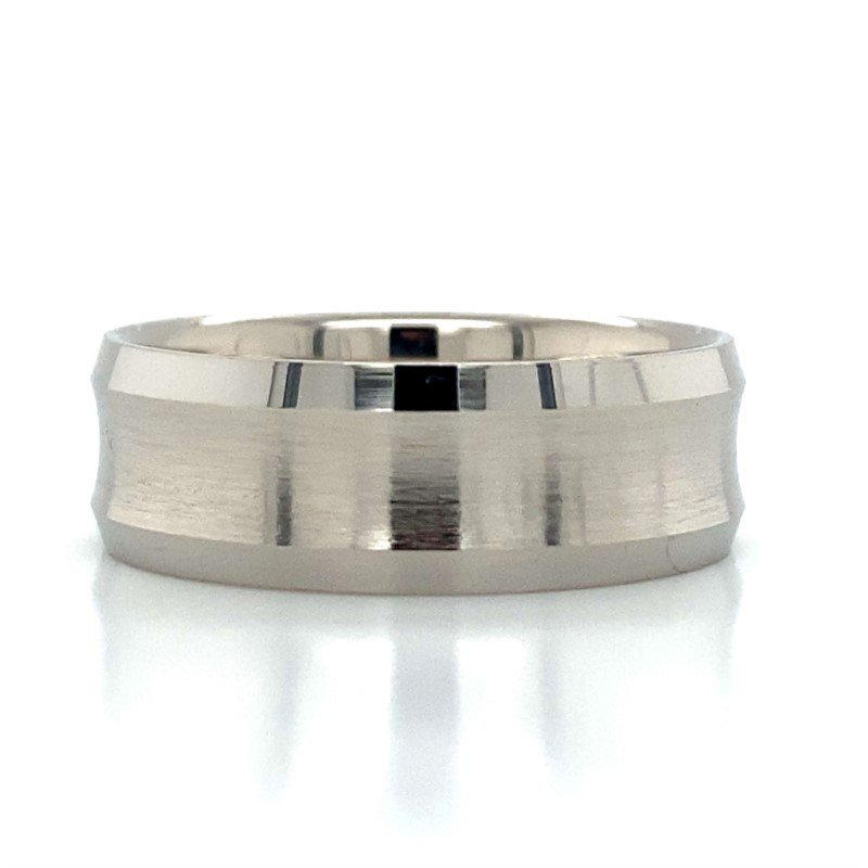 Benchmark Rings Tungsten Concave Beveled Edge Band