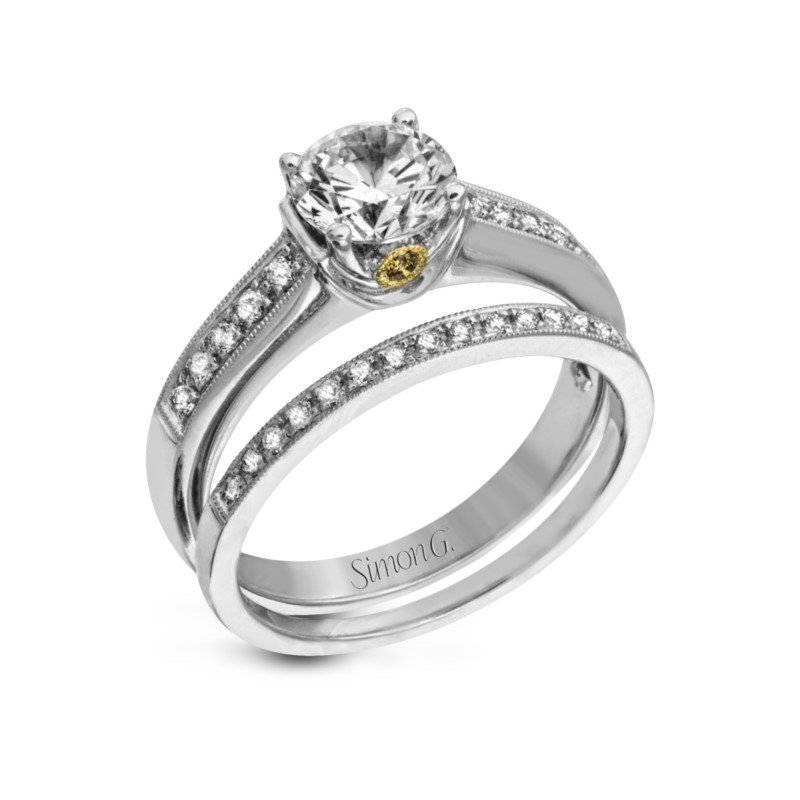 Simon G 18K White Gold Diamond Engagement and Wedding Band