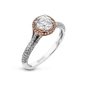 18k White & Rose Gold Halo Wedding Set