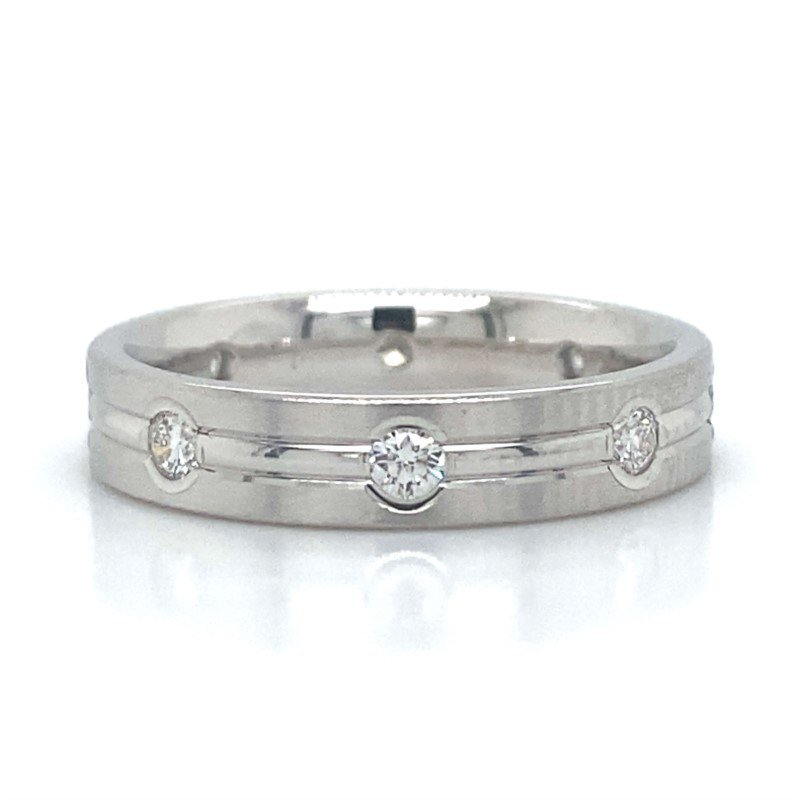 Benchmark Rings 14kWhite Gold Diamond Wedding Band