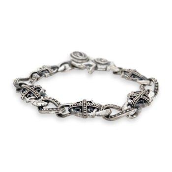 Silver Open Link Cross Bracelet