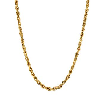 14k Yellow Gold Hollow Rope Chain