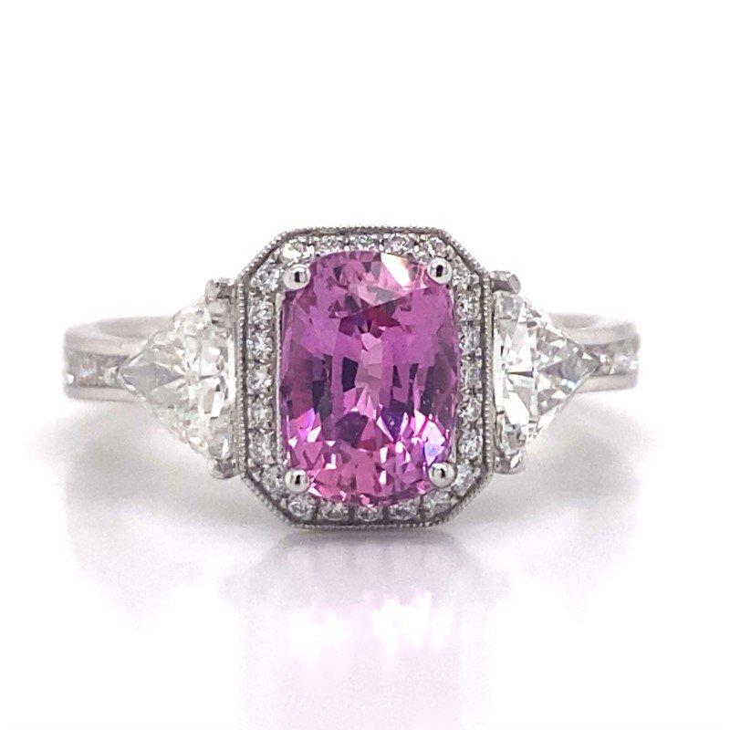 Simon G 18k White Gold Pink Sapphire and Trilliant Diamond Ring