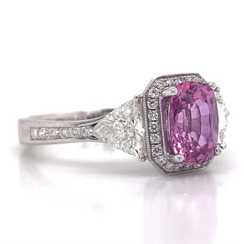 18k White Gold Pink Sapphire and Trilliant Diamond Ring