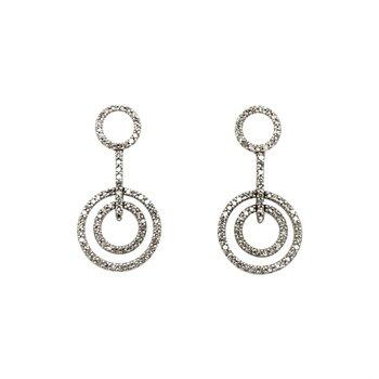 14k White Gold Dangle Circle Earrings