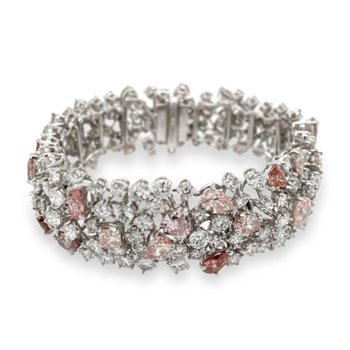 Platinum White and Pink Diamond Bracelet