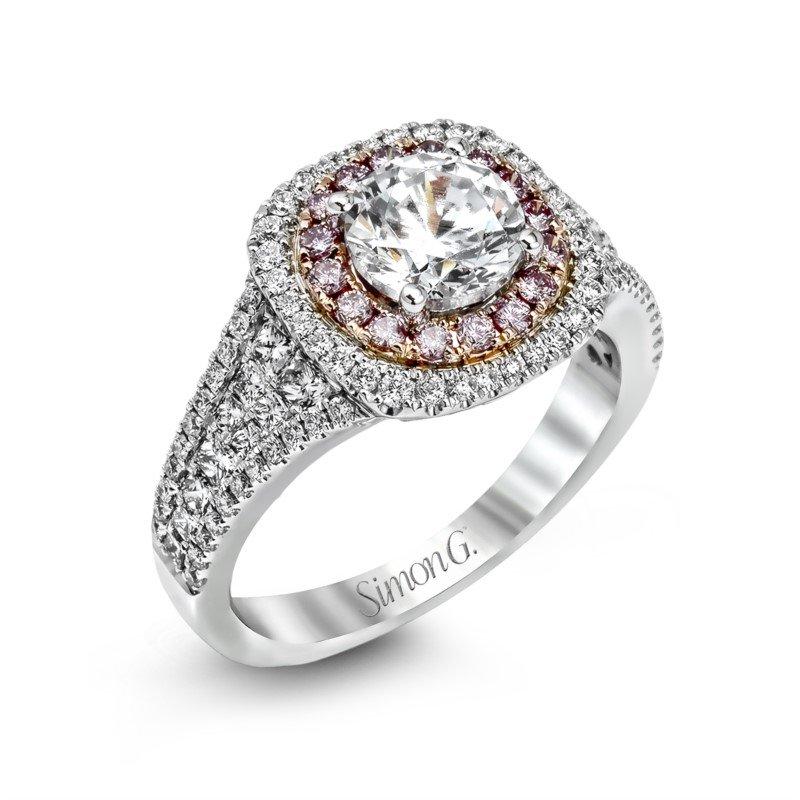 Simon G 18k White & Rose Gold Double Halo Ring