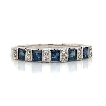 14k White Gold Diamond & Sapphire Band