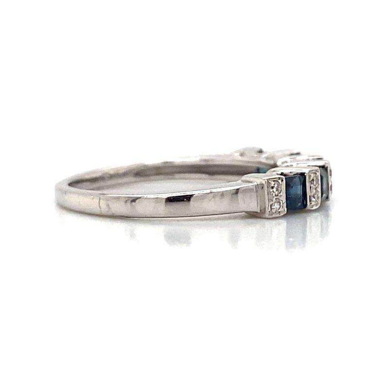 Robert Palma Designs 14k White Gold Diamond & Sapphire Band