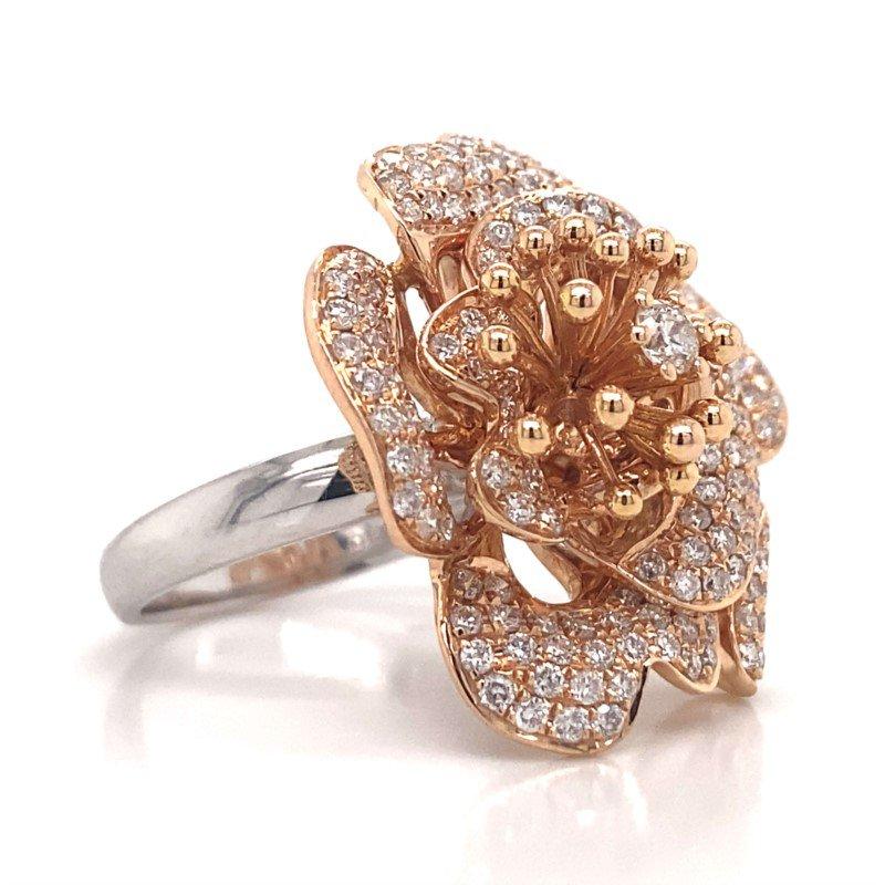 Robert Palma Designs 18k White & Rose Gold Floral Ring