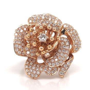 18k White & Rose Gold Floral Ring