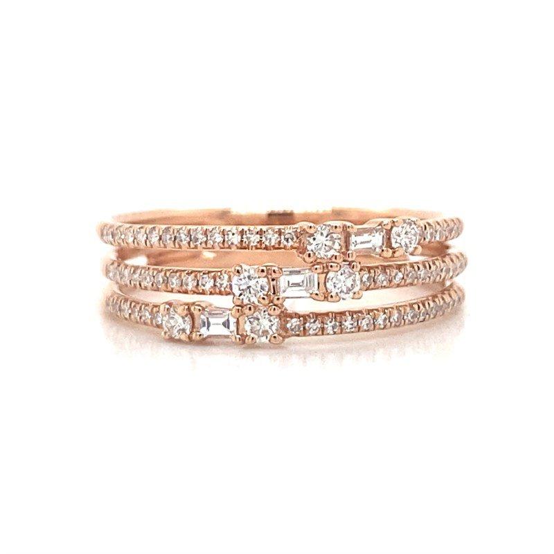 Robert Palma Designs ROSE GOLD THREE ROW BAGUETTE RING