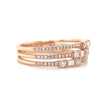 ROSE GOLD THREE ROW BAGUETTE RING