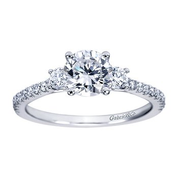 1 1/8ct tw Diamond Three Stone Engagement Ring in 14K White Gold