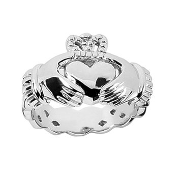 14K White Gold Wedding RingMen's comfort fit Irish Claddagh wedding ring in 14K white gold.