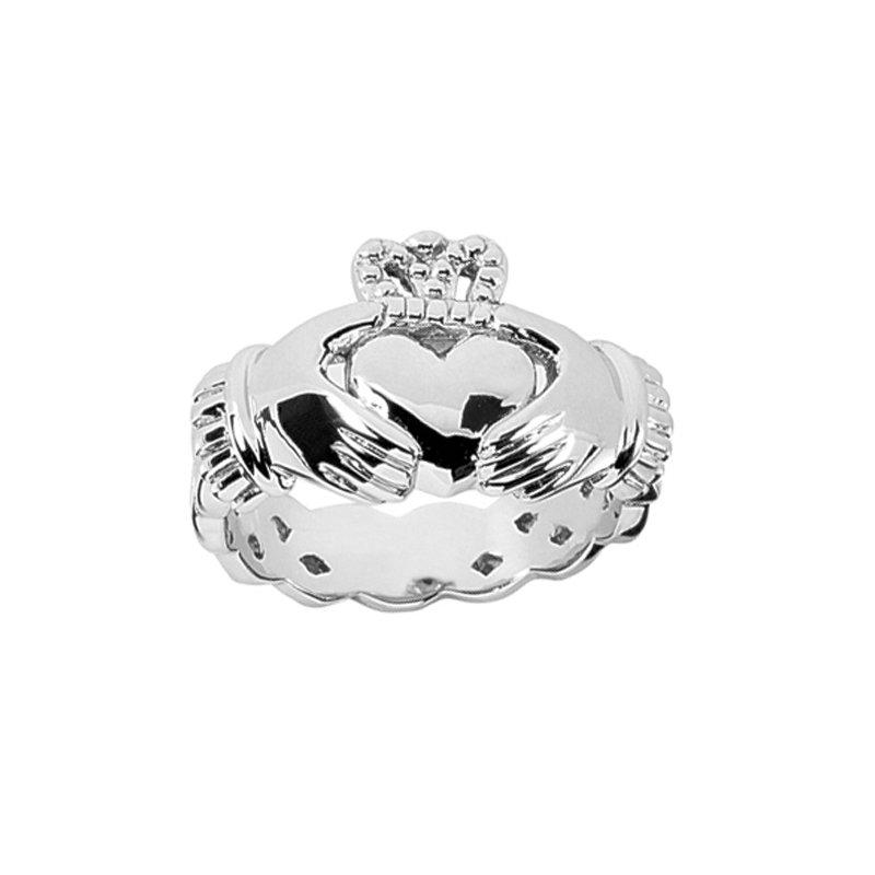 Irish Claddagh Wedding Ring in 14K White Gold