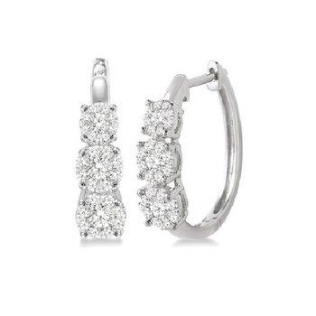 3/4ct tw Diamond Thousand Points of Light Hoop Earrings in 14K White Gold