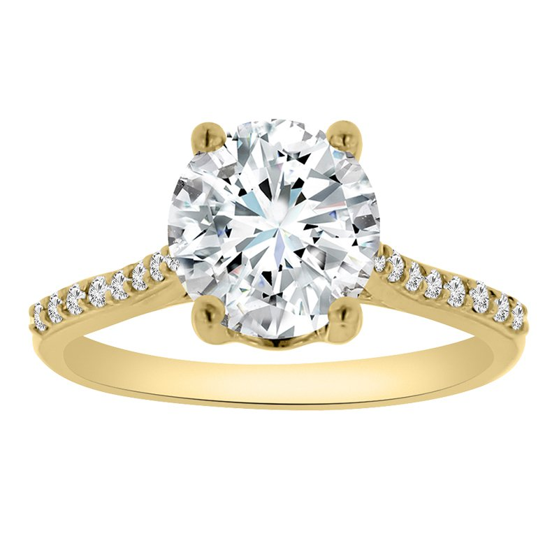 1/8ct tw Diamond Halo Engagement Ring Setting in 14K Yellow Gold