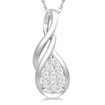 1/10ct tw Diamond Thousand Points of Light Necklace in 14K White Gold