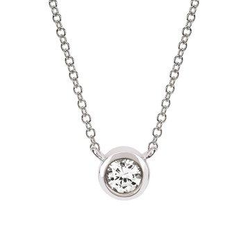 April Birthstone Necklace in 10K White Gold
