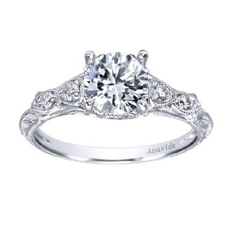 1/8ct tw Diamond Engagement Ring Setting in 18K White Gold