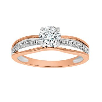 3/4ct tw Diamond Engagement Ring in 14K White & Rose Gold