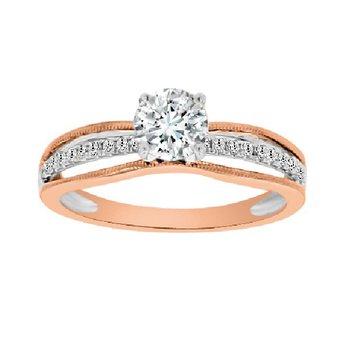 3/4ct tw Diamond Engagement Ring in 14K White & Rose Gold