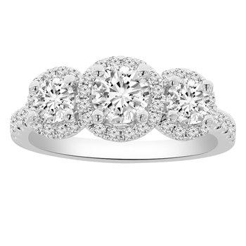 1 1/3ct tw Diamond Three Stone Engagement Ring in 18K White Gold