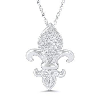 1/10ct tw Diamond Fleur de Lis Necklace in Sterling Silver