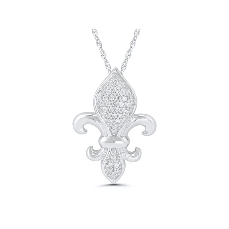 1/10ct tw Diamond Fleur de Lis Necklace in Sterling Silver