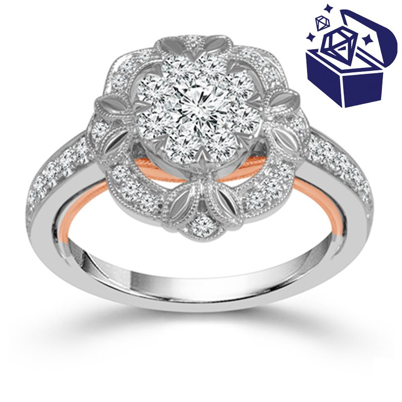 Treasure Hunt Value 1ct tw Diamond Halo Thousand Points of Light Engagement Ring in 10K White & Rose Gold