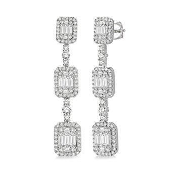 3ct tw Diamond Halo Fashion Earrings in 18K White Gold