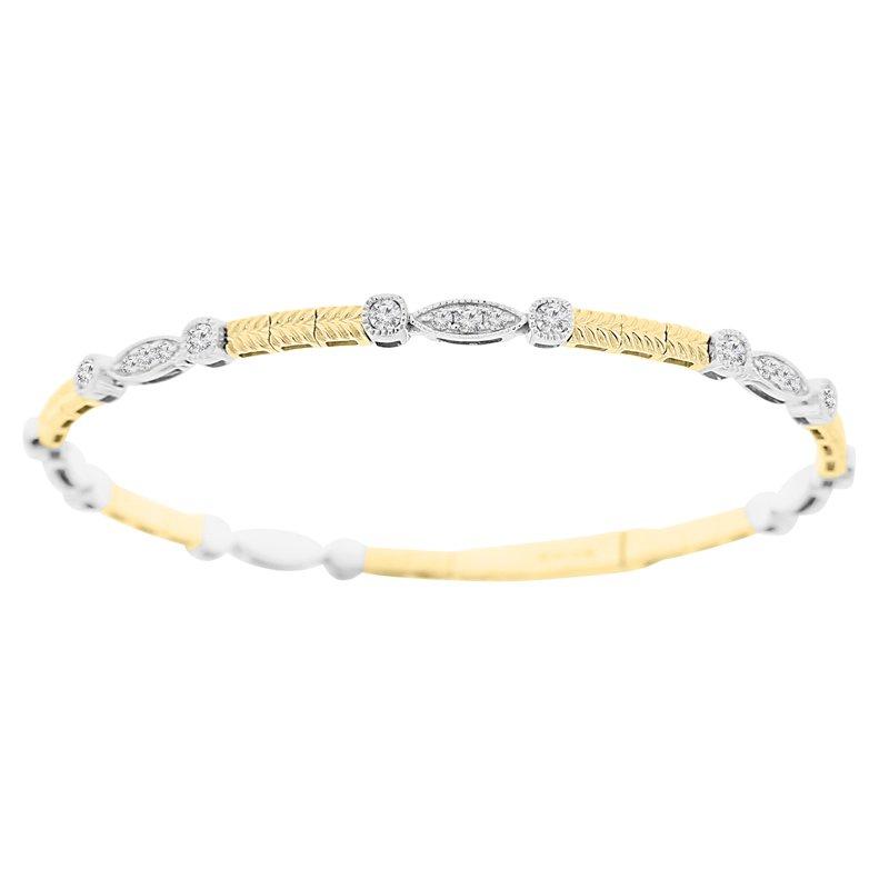 1ct tw Diamond Bangle Bracelet in 14K White & Yellow Gold
